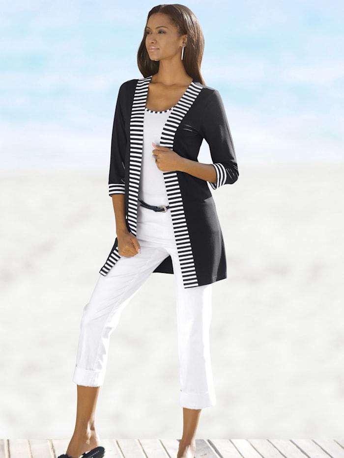 Shirt-Cardigan mit Streifendetails