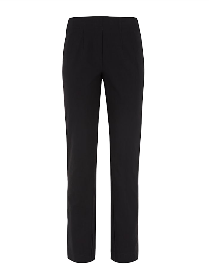 Pull-on trousers made from a soft stretch fabric