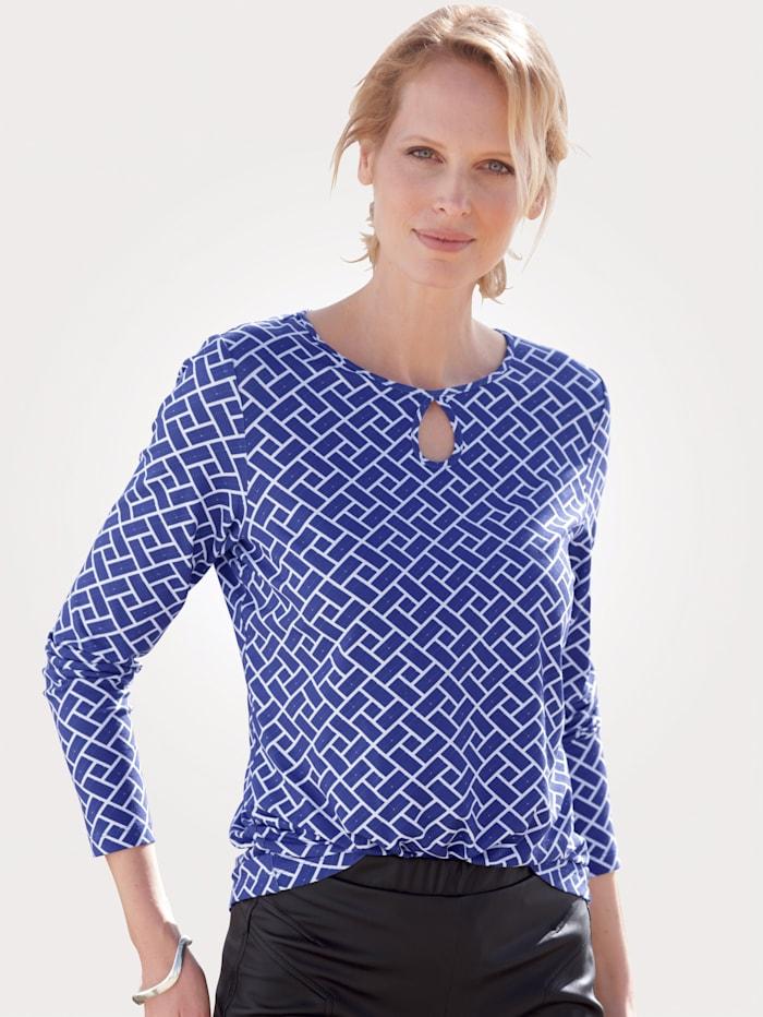 MONA T-shirt à encolure raffinée, Bleu roi/Blanc