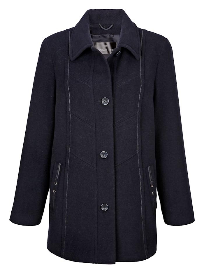 Manteau court en laine mélangée à détails raffinés