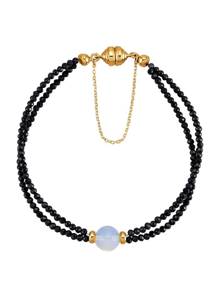 Amara Pierres colorées Bracelet 2 rangs 2 rangées, Noir