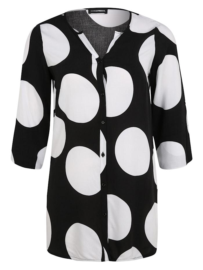 Doris Streich Longbluse mit Allover-Muster, schwarz/weiß