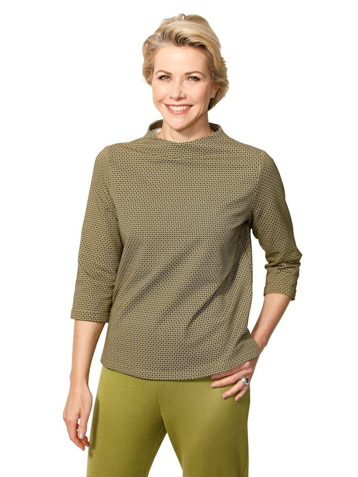 MONA Shirt mit Minimal-Druckdessin, Pistaziengrün/Schwarz