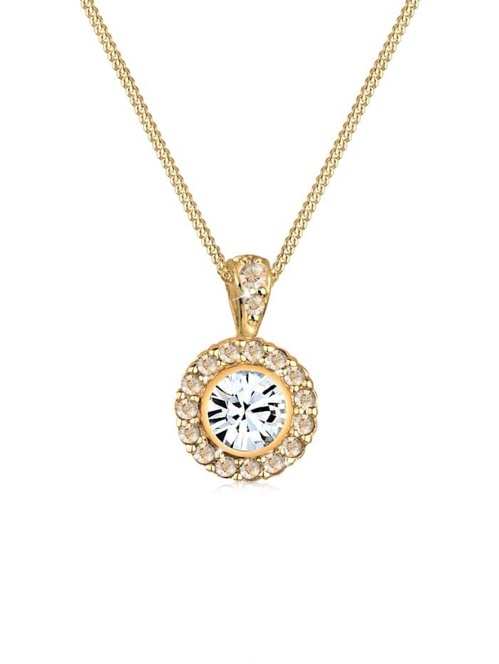 Elli Halskette Blüte Kristalle 925 Sterling Silber, Gold