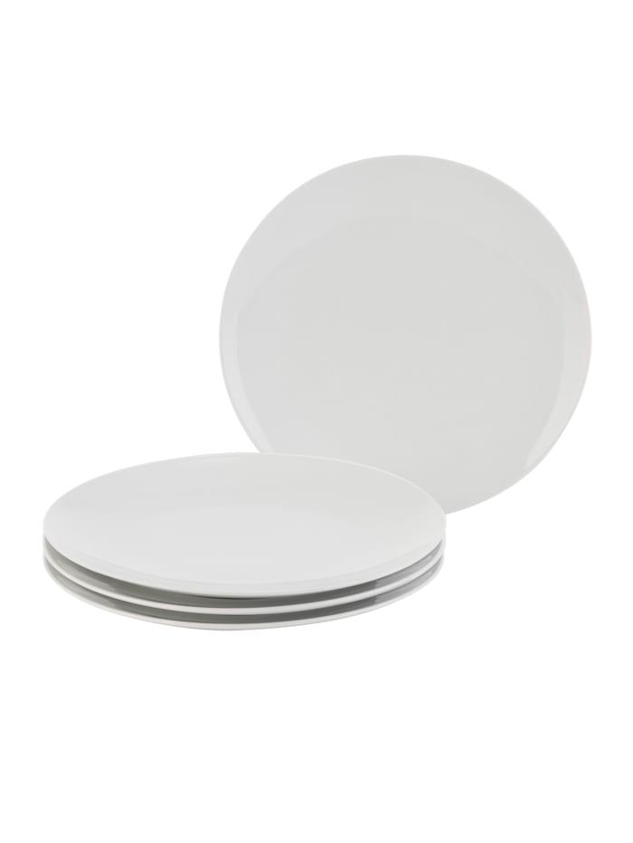 IMPRESSIONEN living Assiettes 4 pièces, Blanc