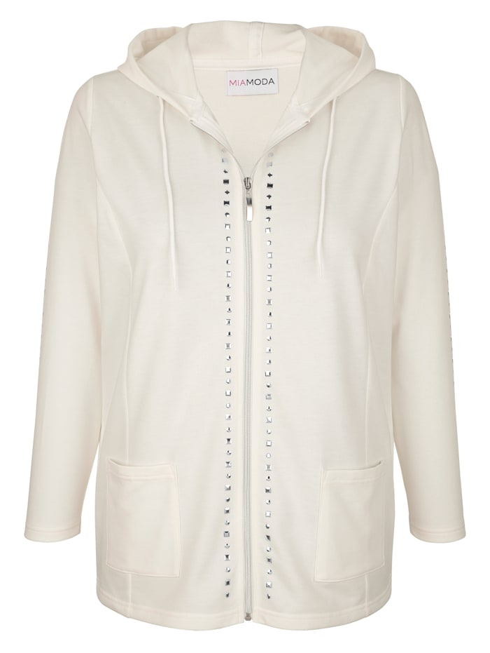 MIAMODA Sweat bunda s praktickou kapucňou, Prírodná biela