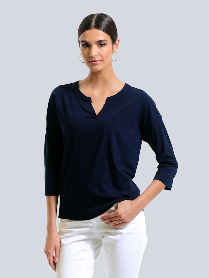 Alba Moda Shirt in leichter Oversized-Form, Marineblau