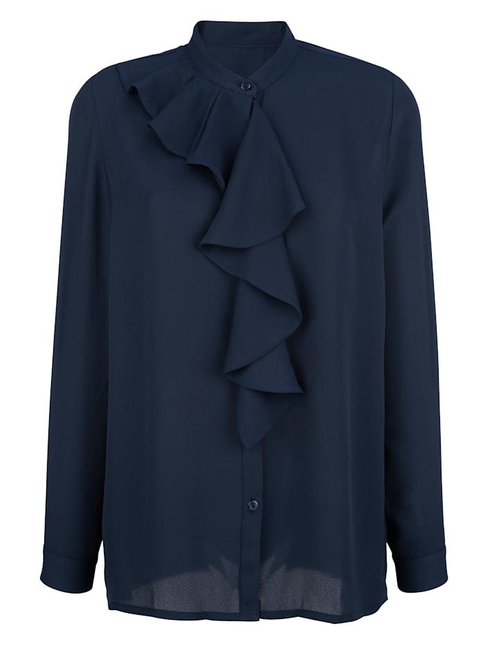 Alba Moda Bluse mit Volant am Ausschnitt, Marineblau