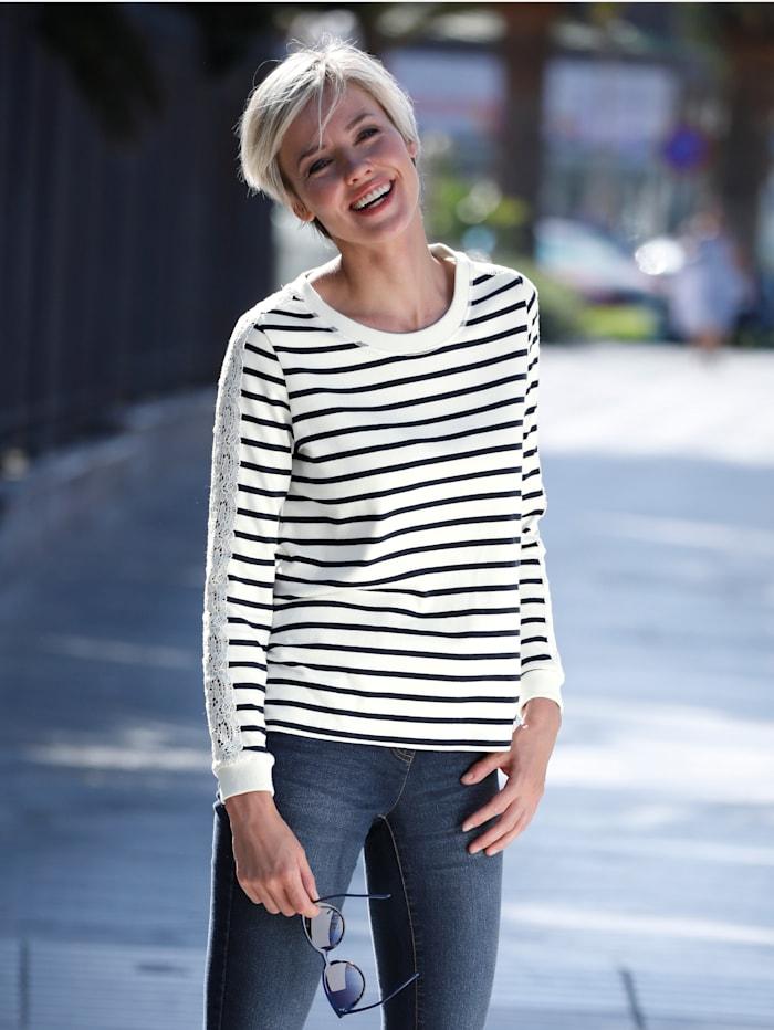 Dress In Sweatshirt mit Spitzendetail, Ecru/Hellblau