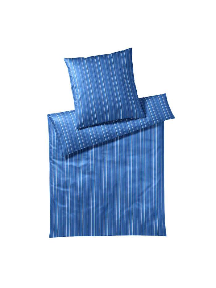 Elegante Mako-Satin Bettwäsche Solitaire true blue, true blue