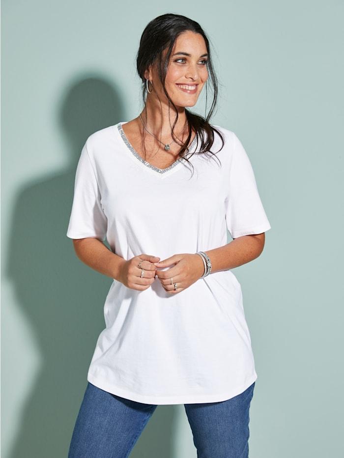 MIAMODA T-shirt à encolure en V allongeante, Blanc