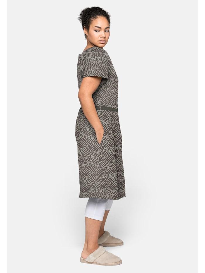 Sheego Shirtkleid mit V-Ausschnitt und Bindeband