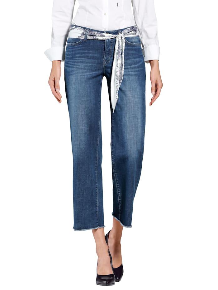 Jeans mit bedrucktem Tuch