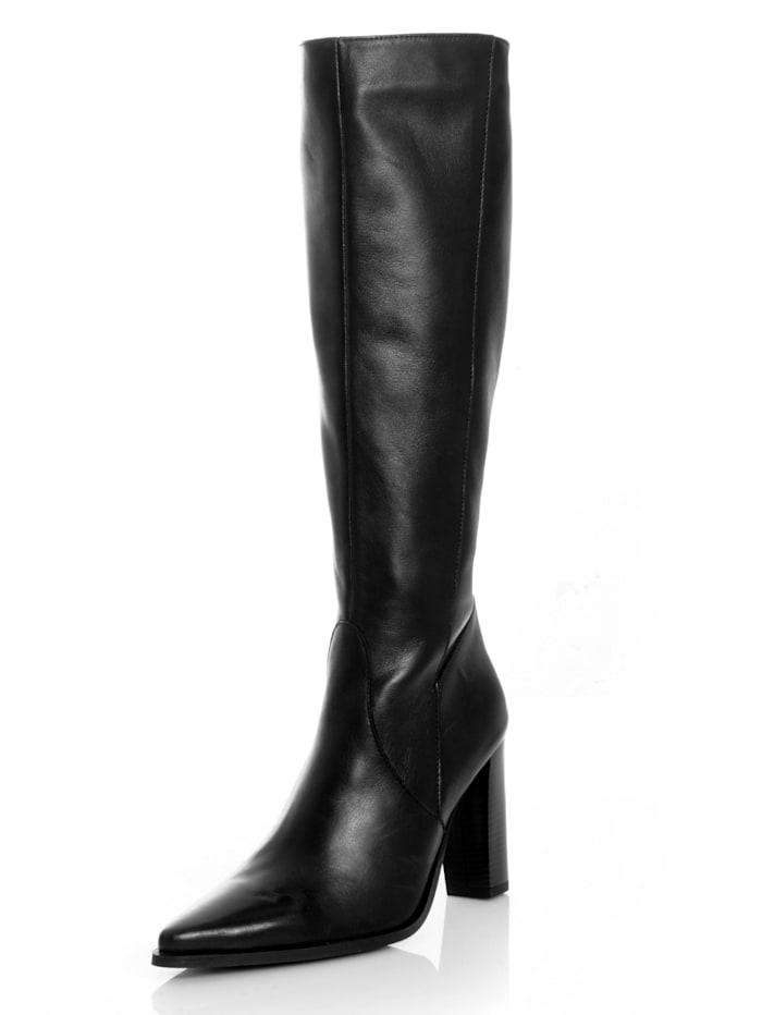 Alba Moda Stiefel aus Rindsleder, Schwarz
