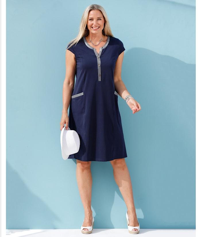 MIAMODA Kleid mit aufgesetzten Taschen, Marineblau