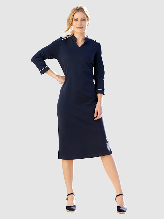 Laura Kent Kleid mit kontrastfarbener Paspelierung, Marineblau