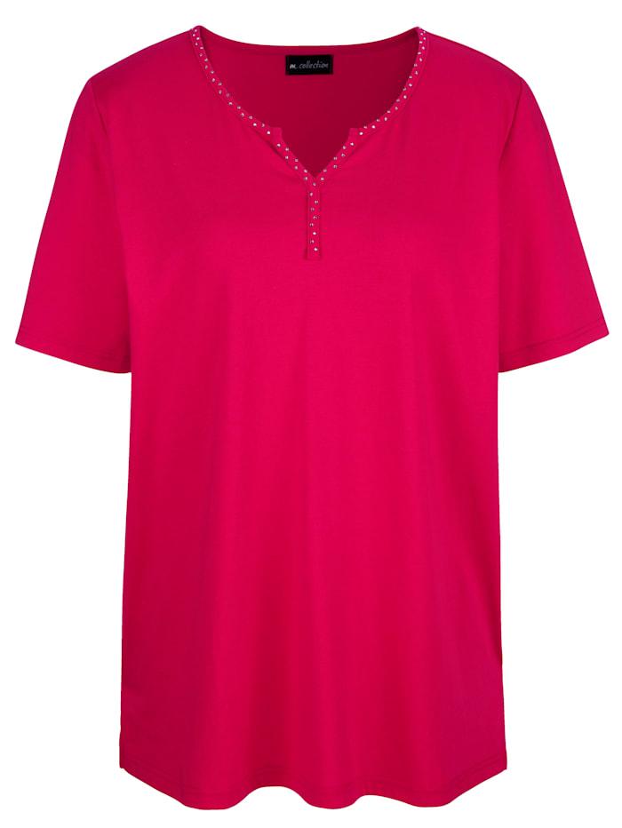 m. collection Shirt met strassteentjes aan de hals, Berry
