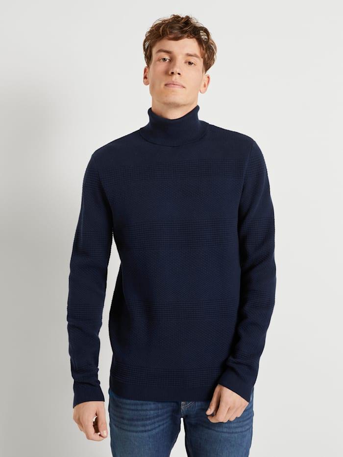Tom Tailor Denim Rollkragenpullover mit Streifenstruktur, Sky Captain Blue