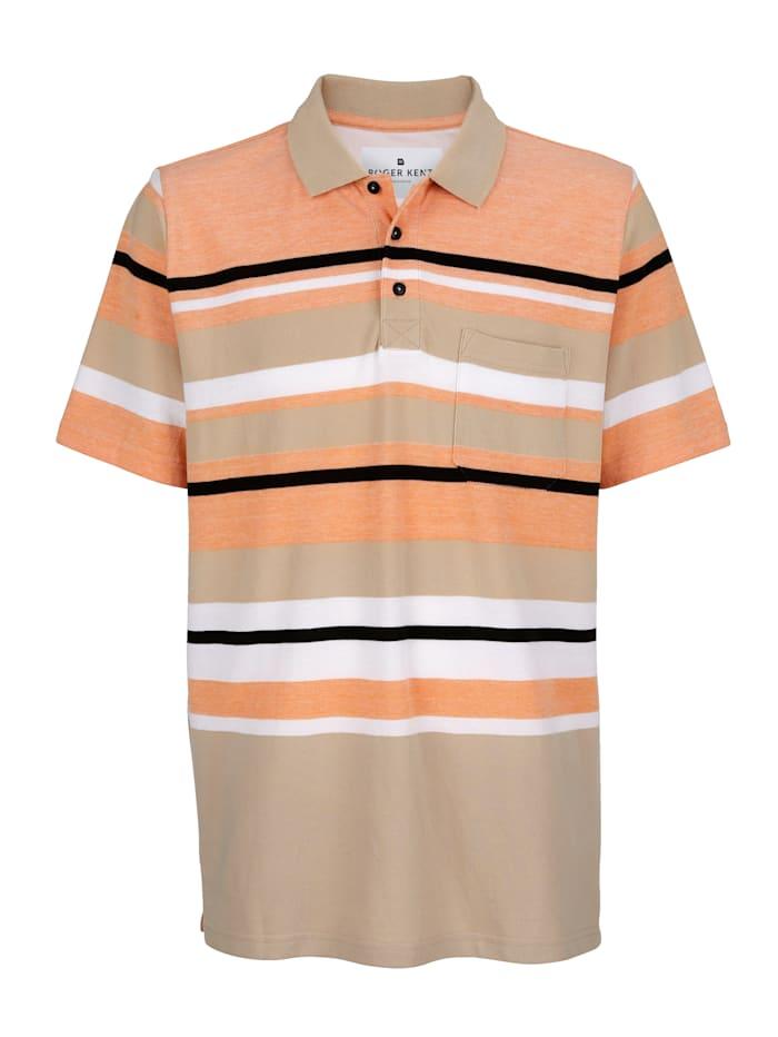 Roger Kent Poloshirt van piquémateriaal, Zand/Oranje/Zwart