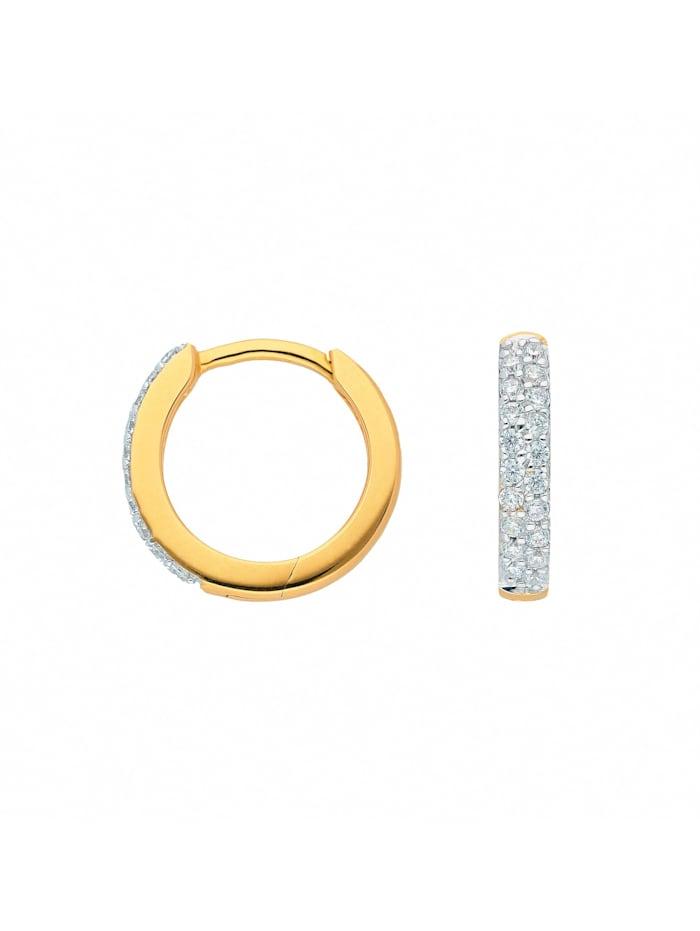1001 Diamonds Damen Goldschmuck 333 Gold Ohrringe / Creolen mit Zirkonia Ø 13,1 mm, gold