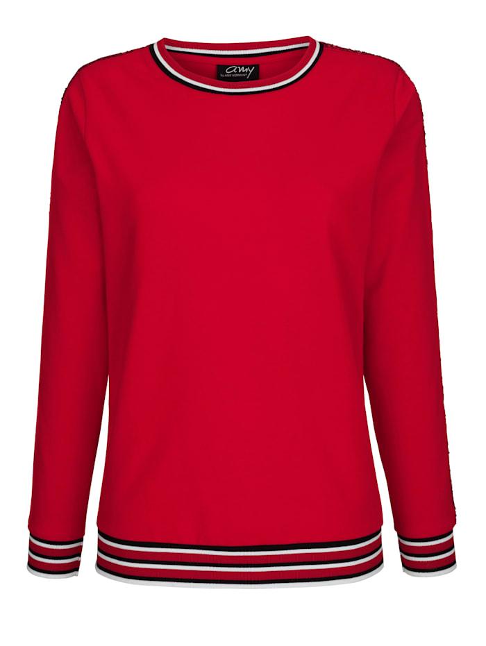 AMY VERMONT Sweatshirt mit kontrastfarbenen Bündchen, Rot