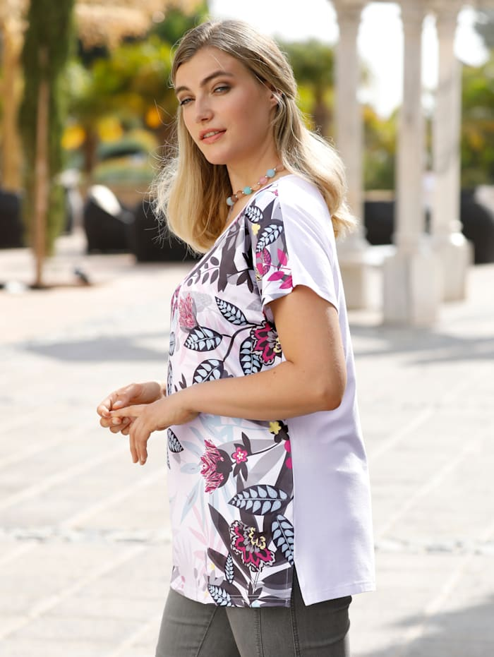Shirt im Vorderteil mit floralem Druckmotiv