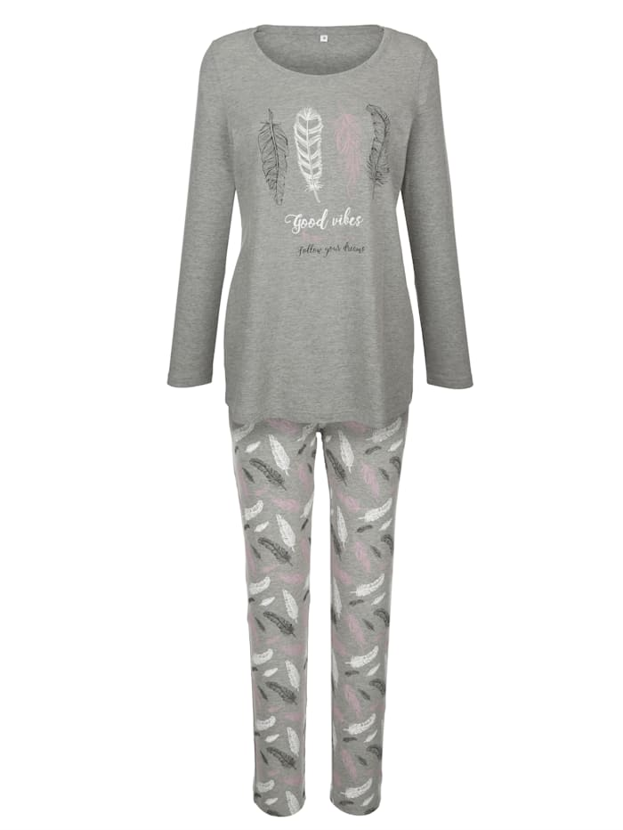 Pyjamas with a feather print