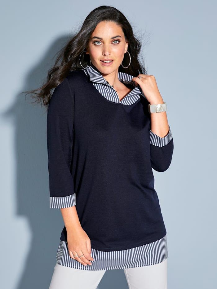 MIAMODA 2-in-1 Shirt mit Webeinsatz am Kragen und Saum, Marineblau