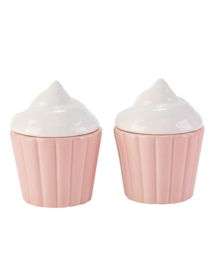 IMPRESSIONEN living Dosen-Set, 2-tlg., Cupcake, pink/weiß