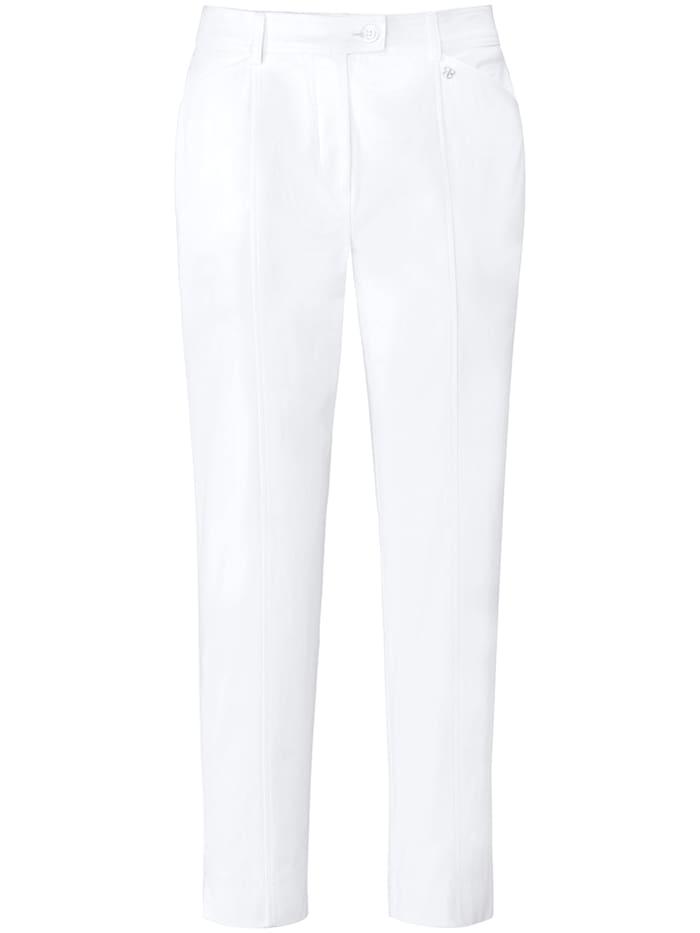 Basler Zigarettenhose aus unifarbenem Baumwollsatin, bright white