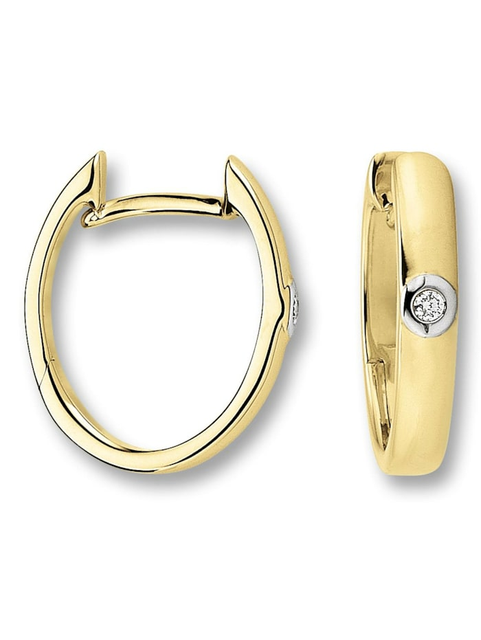 One Element Damen Schmuck Orhringe / Creolen aus 585 Gelbgold mit 0,02 ct Diamant, gold