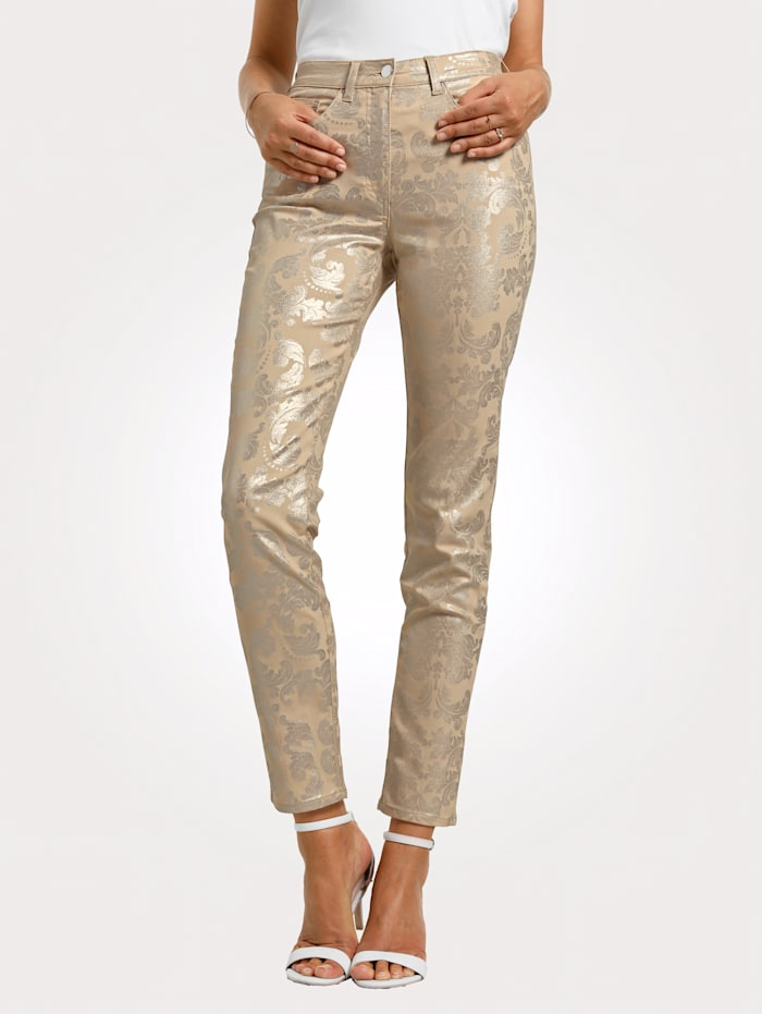 Trousers with a shimmering graphic print