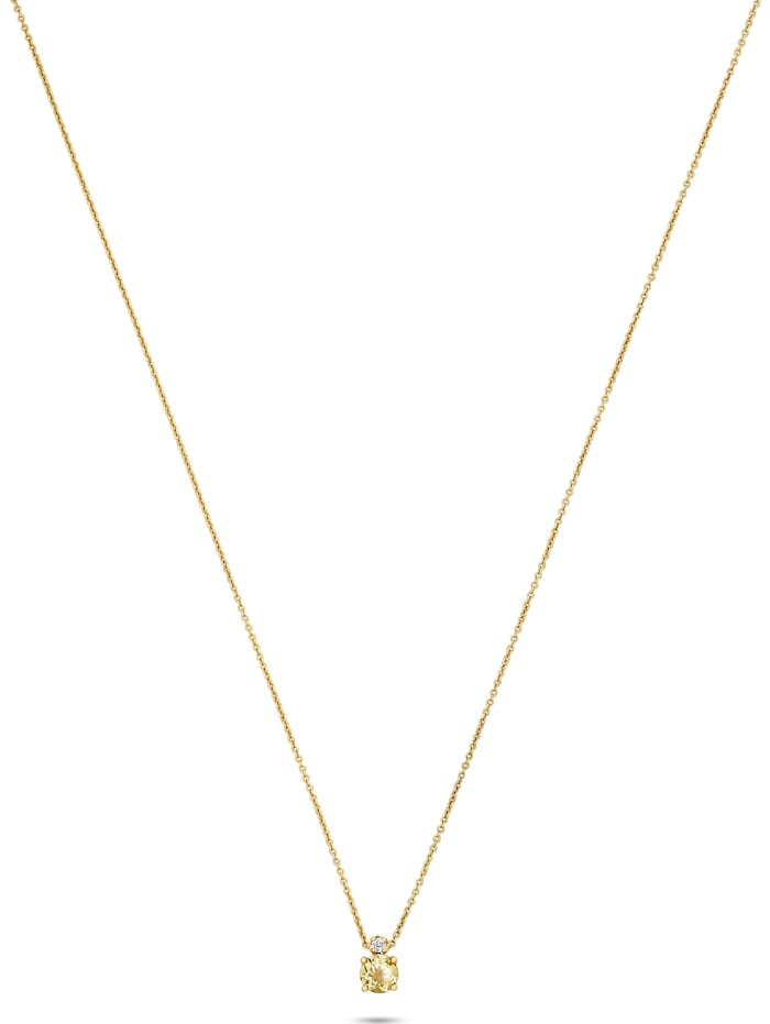 CHRIST C-Collection CHRIST Damen-Kette 375er Gelbgold 1 Lemonquarz, gelb