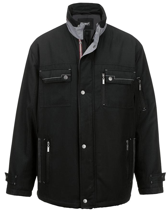 Men Plus Vatsan kohdalta tilava takki, Musta/Harmaa