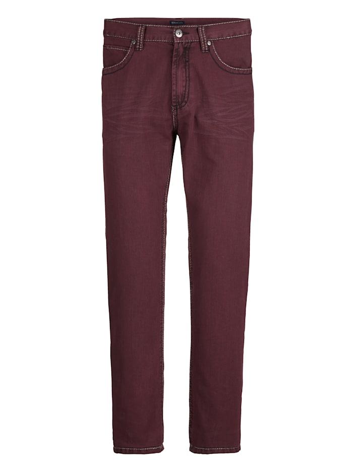 BABISTA Kalhoty s módním hrubším šitím, Bordó