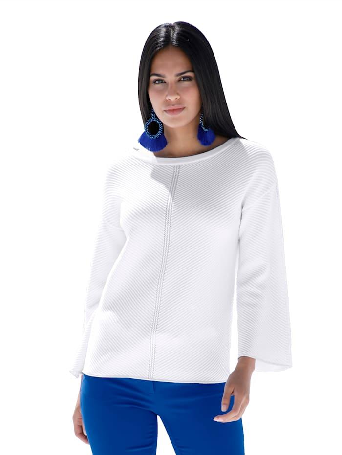 AMY VERMONT Pullover mit Strukturstrick und Glanzgarn, Weiß