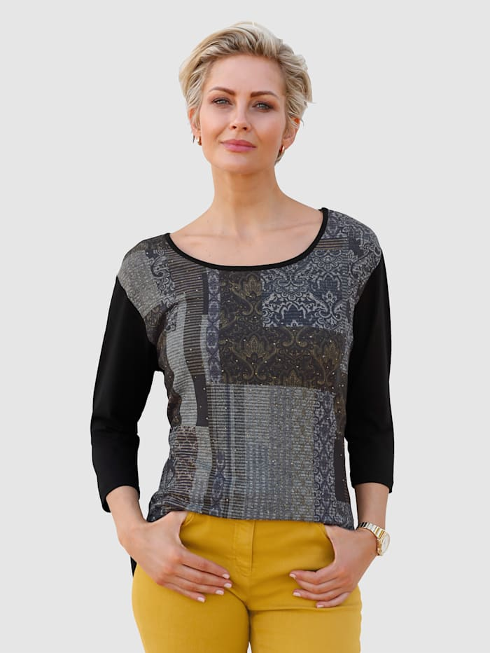 MONA Shirt van een materialenmix, Zwart/Geel