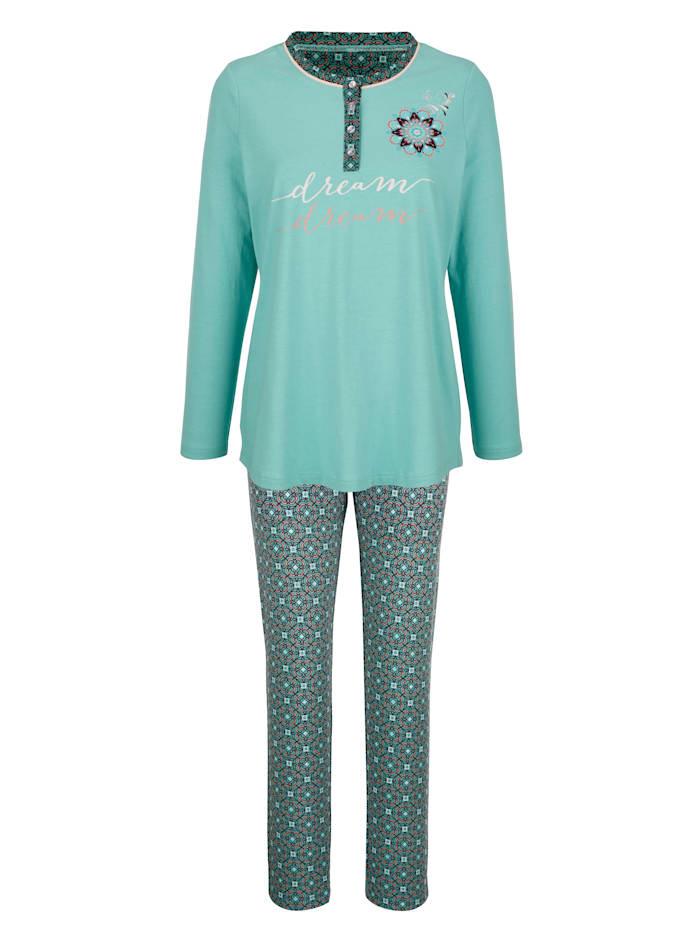 Blue Moon Pyjama met oriëntaalse print, Jadegroen/Bordeaux