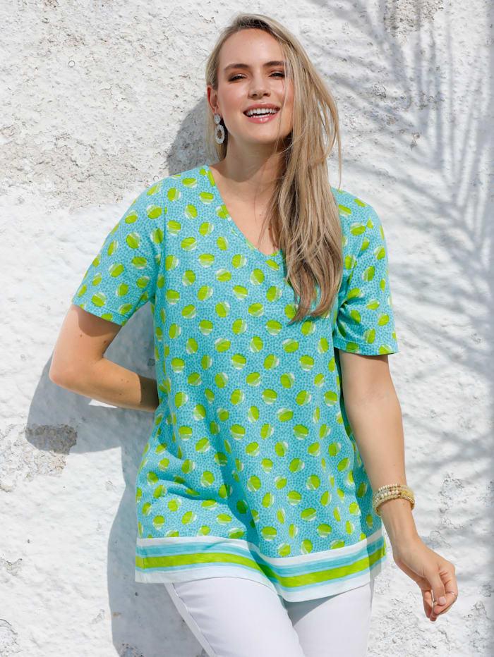 MIAMODA Shirt mit streckendem V-Ausschnitt, Türkis/Grün