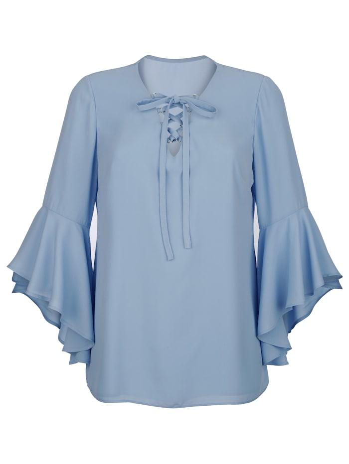 AMY VERMONT Bluse mit dekorativer Schnürung am V-Ausschnitt, Hellblau