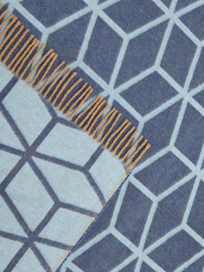 Wendeplaid, blau/taupe gemustert