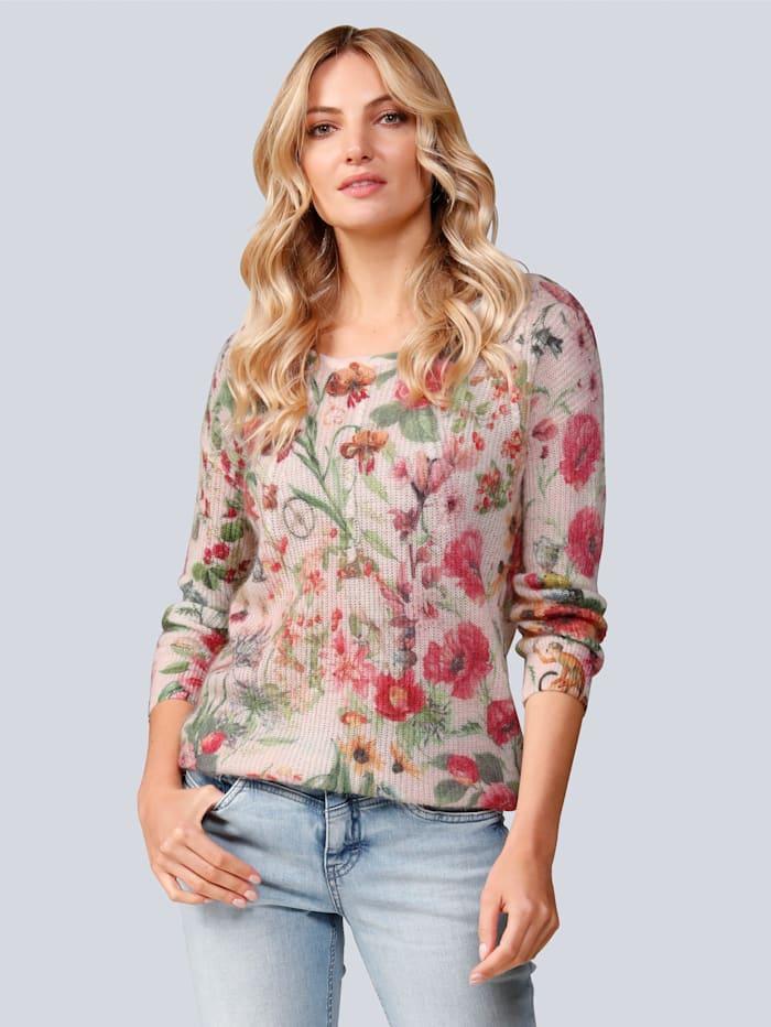 Princess GOES HOLLYWOOD Pullover im schönen Blumendessin, Rosé