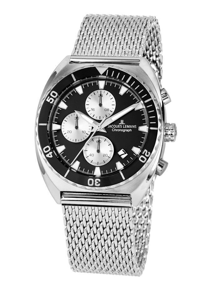 Jacques Lemans Herrenuhr-Chronograph Serie Retro 200 Kollektion Classic 1-2041E, Silberfarben/Schwarz