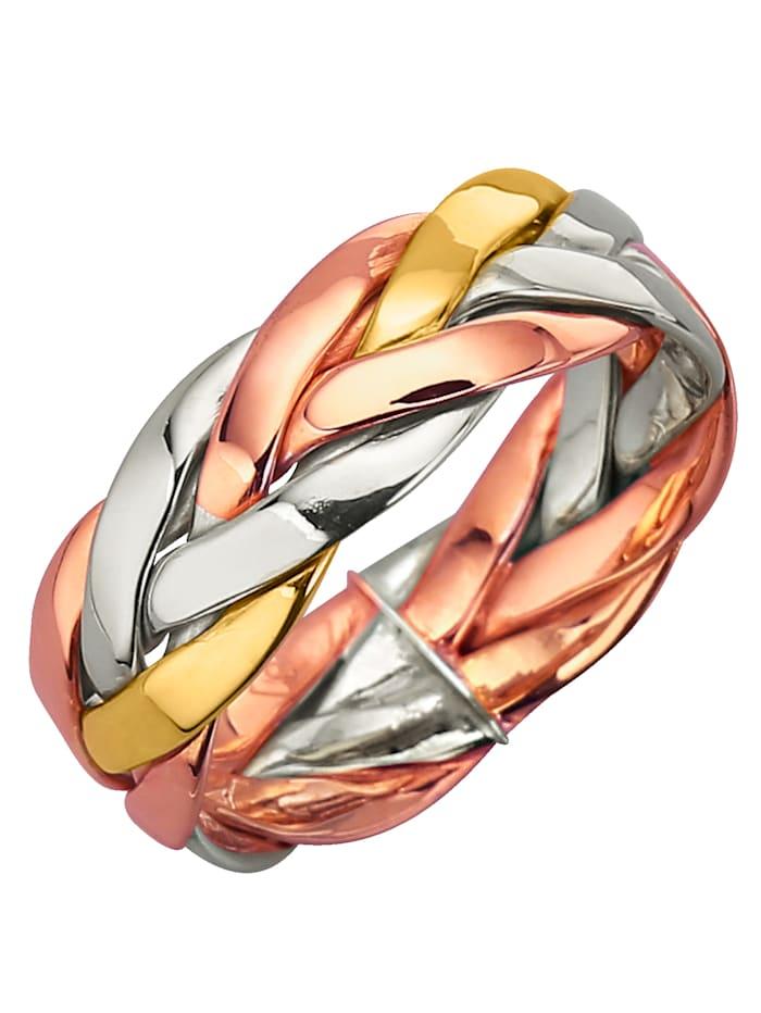 Damenring in Gelbgold, Multicolor/Weißgoldfarben/Roségoldfarben