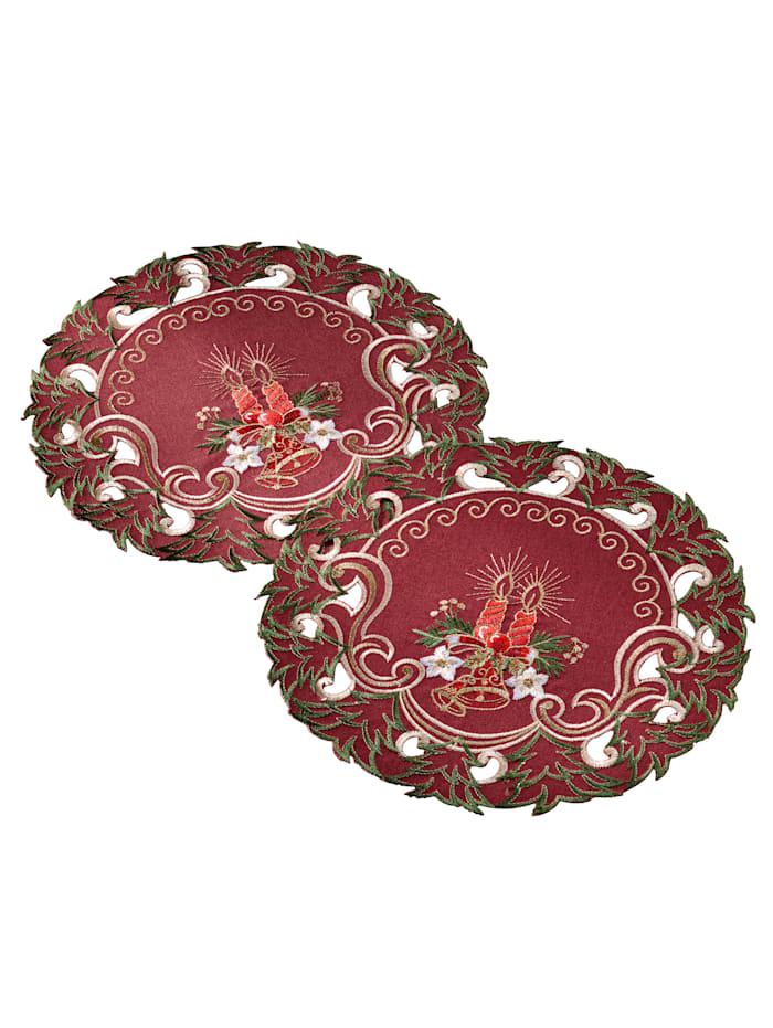 Webschatz Dukserie med elegante julebroderier, rød mønstret