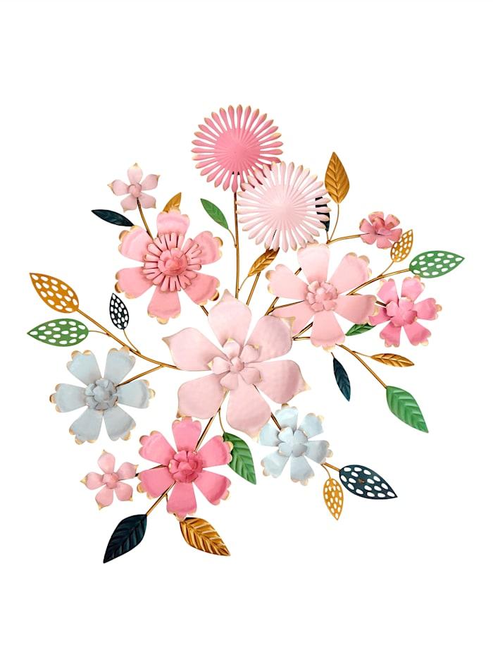 Casamaxx Metall-Wanddekoration 'Blumen', Rosa
