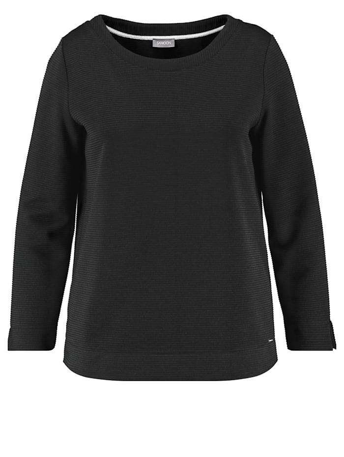 Samoon Langarmshirt aus Struktur-Jersey, Black