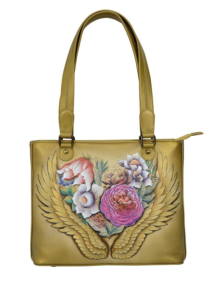 ANUSCHKA Schultertasche Angels Wings aus handbemaltem Leder, bunt