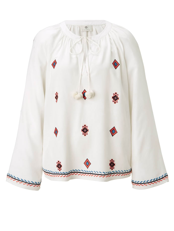 SIENNA Bluse mit Ethno-Stickerei, Off-white