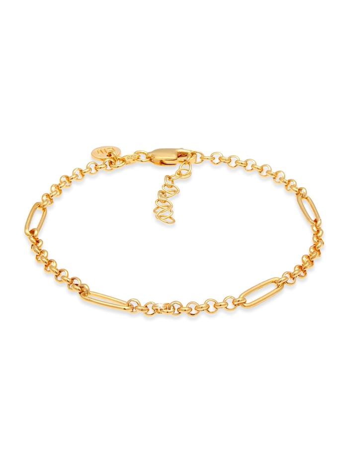 Elli Premium Armband Figaro Glieder Style Erbskette 925 Silber, Gold